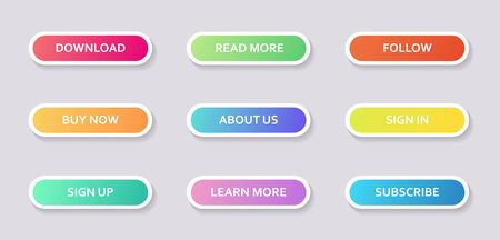 Set of round colorful web buttons with outline for internet store design. Stock Illustratie