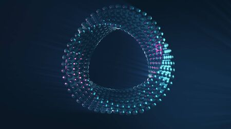 Futuristic abstract twisted geometry spinning in a seamless VJ loop. Hypnotic circular sci-fi motion design element Foto de archivo - 148141428