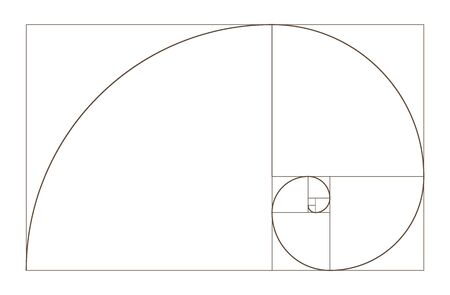 Golden Ratio spiral. Mathematical formula to guide designers for harmony composition. Stock Illustratie