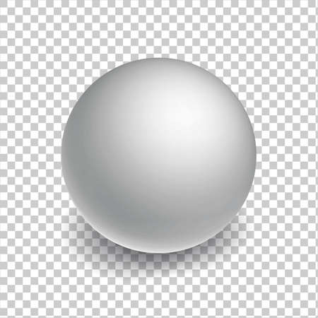 Blank mockup sphere or ball on transperent background. White Three-dimensional globe object with a shadow. Stock Illustratie