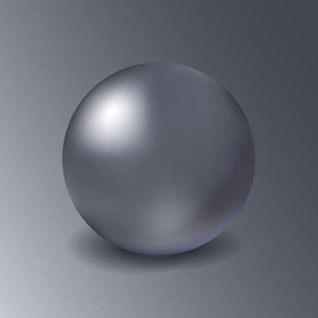 Blank metal mockup sphere on grey background. Metalic three-dimensional object steel or silver ball. Stock Illustratie