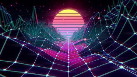80s retro futuristic sci-fi background. VJ videogame landscape with neon lights 免版税图像