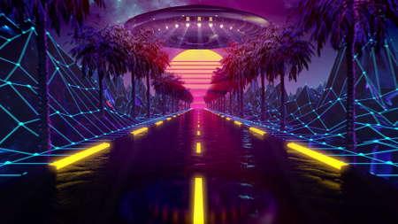 80s retro futuristic sci-fi seamless loop. VJ landscape with neon UFO lights