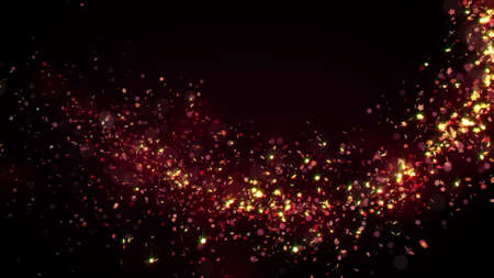 Golden glitter flight with sparkling light. Shining Christmas particles background
