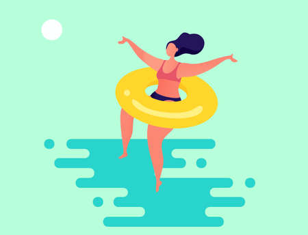 Summer illustration with stylized woman jumping in the water Stock Illustratie