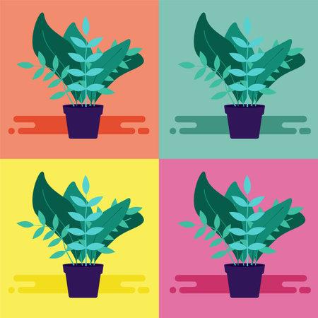 Floral simple pop-art illustration. Decorative hipster poster design.