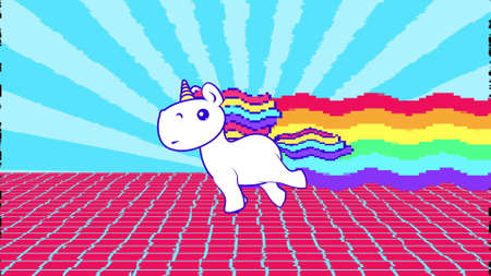 Funny rainbow unicorn running loop. Bright and colorful pony gallop. Pop-art colorful art.