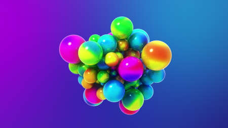 Btight colorful abstract minimal 3D abstract illustration with sticky magnetic spheres or balls.