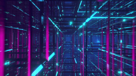 Flying through the Neon sci-fi tunnel cage and metal construction VJ background