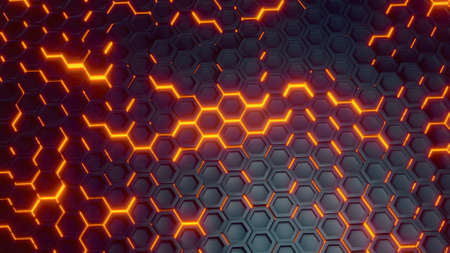 Futuristic sci-fi hexagon surface pattern with offset effect background