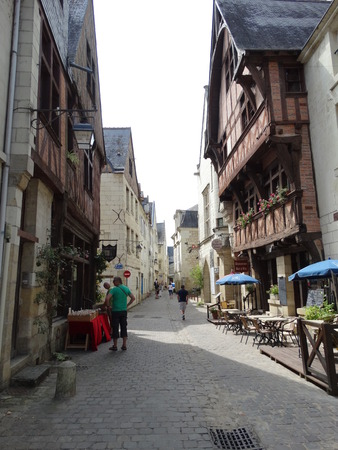 chinon: Street in the medieval city of Chinon with its medieval houses   Editorial