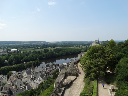 chinon: View over part of Chinon and the river Vienne, seen from the castle