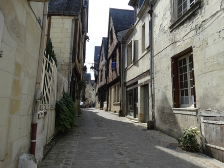 chinon: Medieval houses in a street of Chinon, France