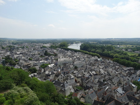 chinon: View over Chinon with a part of the river Vienne Stock Photo