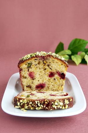 Pistachio loaf cake with cherry