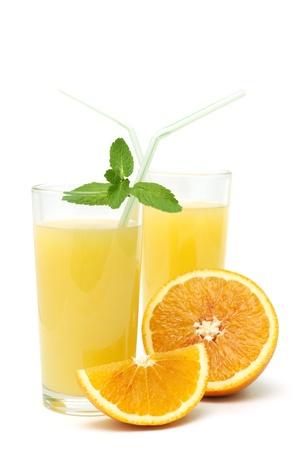 Fresh orange juice isolated on white Stock Photo