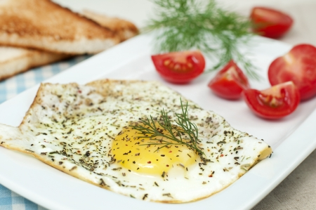 Breakfast plate: fried egg, sliced tomato and toasts