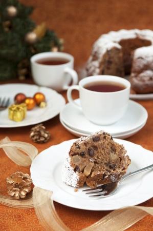 Christmas table setting - cake and christmas decorations