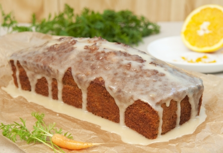 Frosted carrot cake, carrot and orange Stock Photo