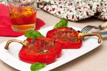 Red peppers stuffed with tomatoes and anchovy Stock Photo - 16511240