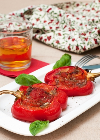 Red peppers stuffed with tomatoes and anchovy
