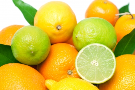 Set of different fresh citrus fruits, isolated on white photo