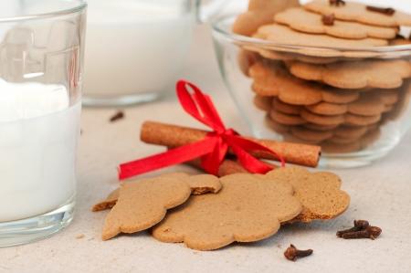 Gingerbread cookies and milk