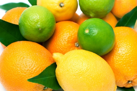Citrus fruits, isolated on white. Selective focus Stock Photo
