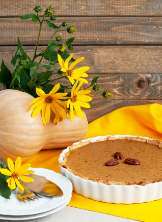 Home baked pumpkin pie with pecan in ceramic dish and daisy, vertical Stock Photo - 21400773