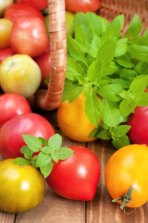 Close up of fresh tomatoes and basil on wooden table, basket in background, horizontal Stock Photo