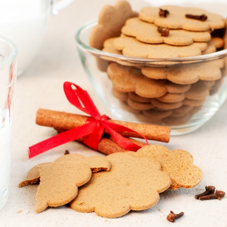 Christmas gingerbread, cloves and cinnamon sticks, selective focus photo