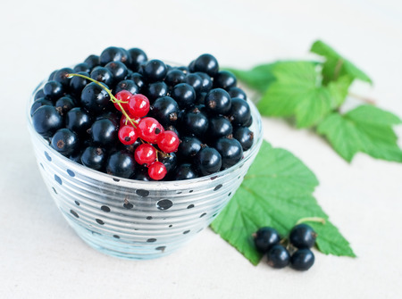 Close up of bowl with blackcurrants and green leaves on grey textile background, selective focus
