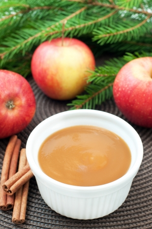 Apple sauce with cinnamon and fresh apples for christmas dessert, top view, vertical Stock Photo