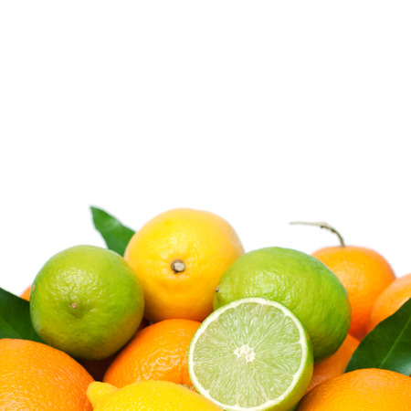 Set of different fresh citrus fruits with place fot text, isolated on white, square image photo
