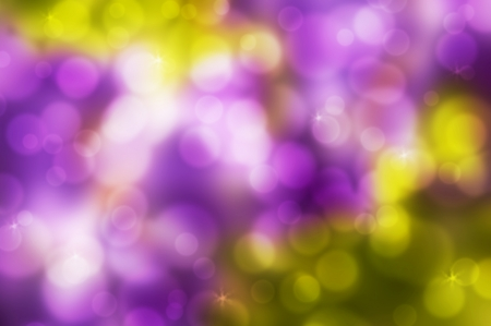 Yellow and purple abstract background with bokeh and stars