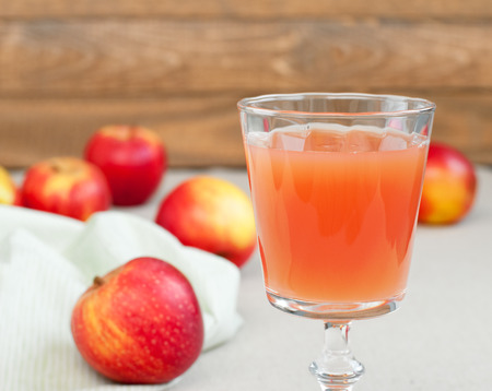 Apple juice and fresh apples, horizontal