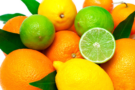 Citrus fruits, isolated on white background, selective focus Stock Photo