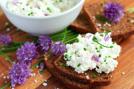 Fresh organic rye bread with chives and cottage cheese, horizontal
