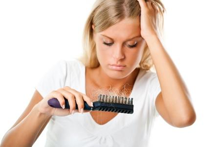 woman issues: Ca�da del cabello Foto de archivo