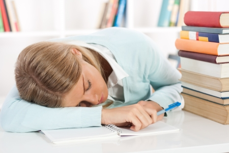 Exhausted student Stock Photo