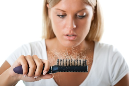 human hair: Hair loss Stock Photo