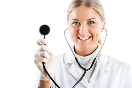 Portrait of beautiful young female doctor with stethoscope Stock Photo - 16289646