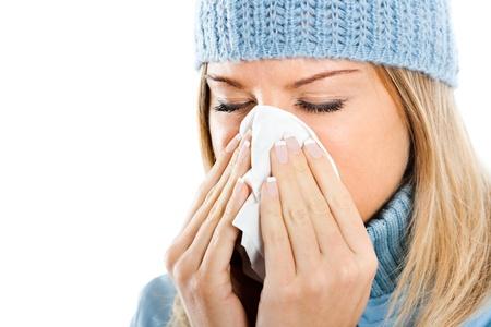インフルエンザを持つ若い女性 写真素材