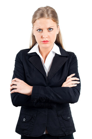 Portrait of young angry business woman  photo
