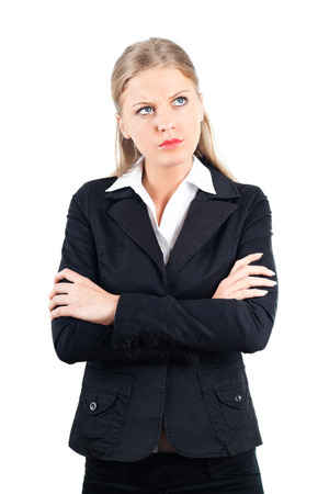 Portrait of young angry business woman