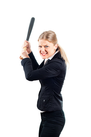 Frustrated businesswoman holding baseball bat  photo