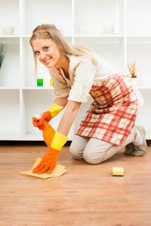Ama de casa alegre disfruta en la limpieza Foto de archivo - 25116372