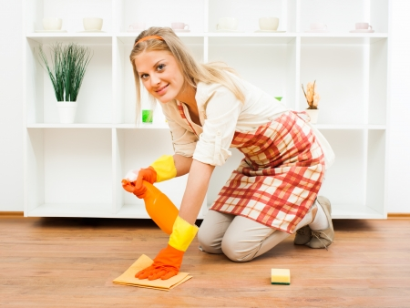 Cheerful housewife enjoys in cleaning  Stock Photo