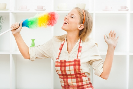 stereotypical housewife: Young housewife enjoys in cleaning  Stock Photo
