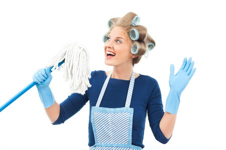 Young housewife enjoys in cleaning  Stock Photo